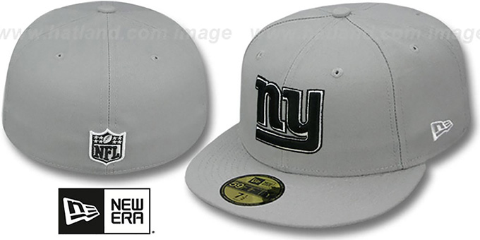 NY Giants 'NFL TEAM-BASIC' Grey-Black-White Fitted Hat by New Era : pictured without stickers that these products are shipped with