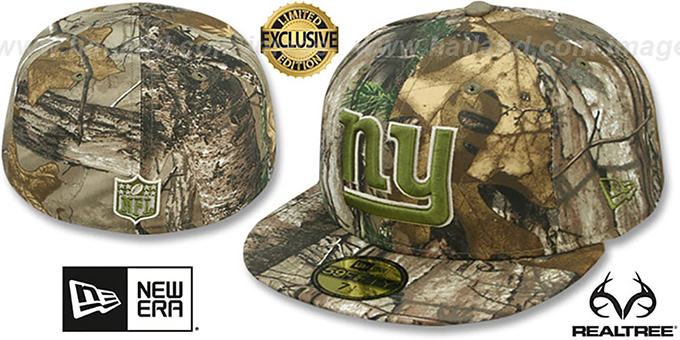 NY Giants 'NFL TEAM-BASIC' Realtree Camo Fitted Hat by New Era : pictured without stickers that these products are shipped with