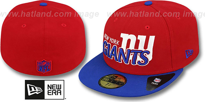 NY Giants 'NFL-TIGHT' Red-Royal Fitted Hat by New Era : pictured without stickers that these products are shipped with