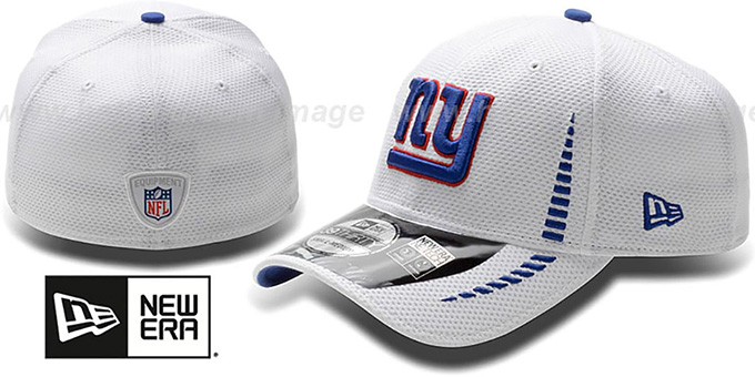 NY Giants 'NFL TRAINING FLEX' White Hat by New Era : pictured without stickers that these products are shipped with