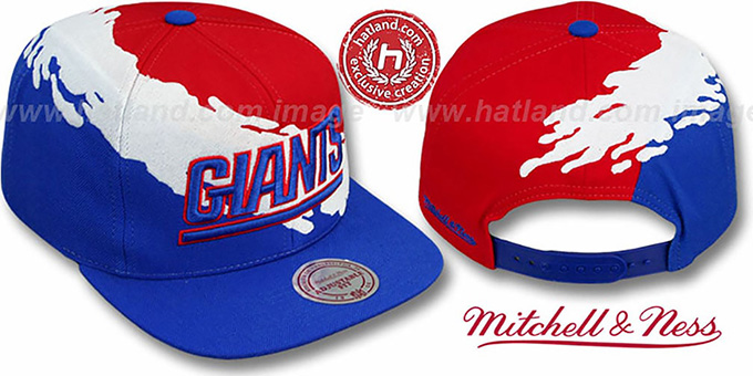 NY Giants 'PAINTBRUSH SNAPBACK' Red-White-Royal Hat by Mitchell and Ness : pictured without stickers that these products are shipped with