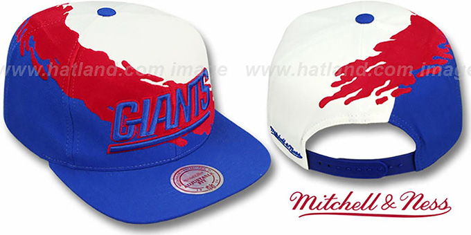 NY Giants 'PAINTBRUSH SNAPBACK' White-Red-Royal Hat by Mitchell & Ness : pictured without stickers that these products are shipped with
