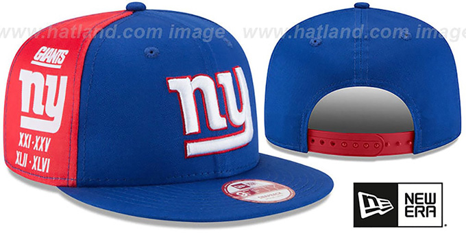 NY Giants 'PANEL PRIDE SNAPBACK' Hat by New Era : pictured without stickers that these products are shipped with