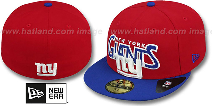 NY Giants 'PROFILIN' Red-Royal Fitted Hat by New Era : pictured without stickers that these products are shipped with