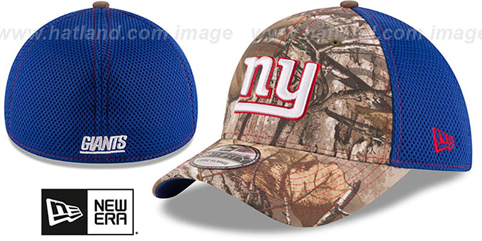 NY Giants 'REALTREE NEO MESH-BACK' Flex Hat by New Era : pictured without stickers that these products are shipped with