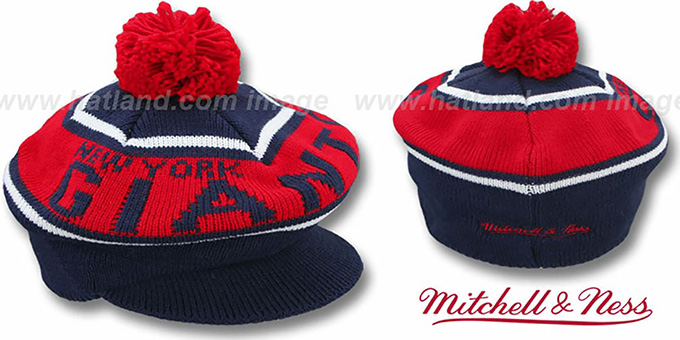 NY Giants 'RERUN KNIT BEANIE' by Mitchell and Ness : pictured without stickers that these products are shipped with