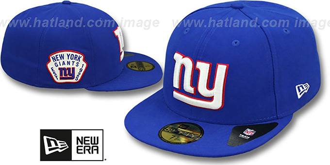 NY Giants 'SIDE TEAM-PATCH' Royal Fitted Hat by New Era : pictured without stickers that these products are shipped with