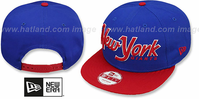 NY Giants 'SNAP-IT-BACK SNAPBACK' Royal-Red Hat by New Era : pictured without stickers that these products are shipped with