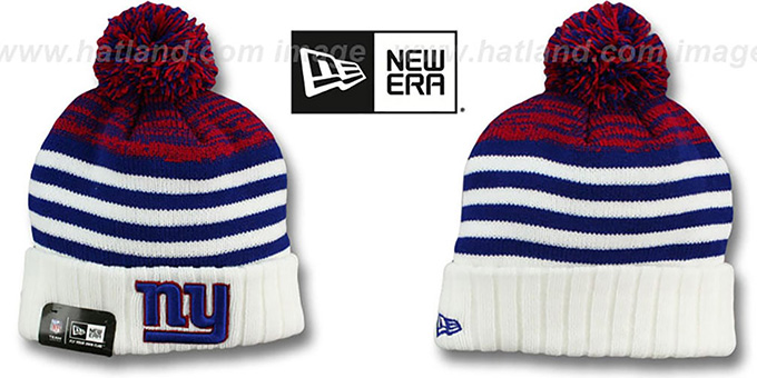 NY Giants 'SNOWFALL STRIPE' Knit Beanie Hat by New Era : pictured without stickers that these products are shipped with