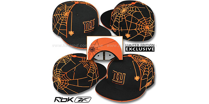 NY Giants 'SPIDERWEB' Black Fitted Hat by Reebok : pictured without stickers that these products are shipped with