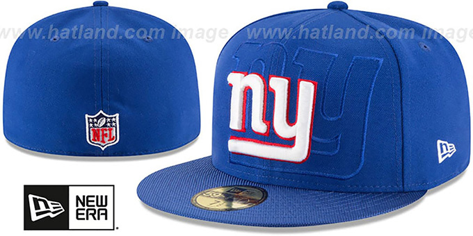 NY Giants 'STADIUM SHADOW' Royal Fitted Hat by New Era : pictured without stickers that these products are shipped with