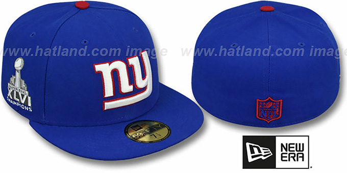 NY Giants 'SUPER BOWL CHAMPS XLVI' Royal Fitted Hat by New Era : pictured without stickers that these products are shipped with