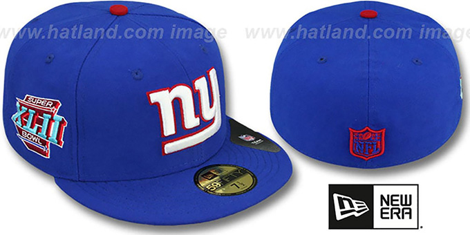 NY Giants 'SUPER BOWL XLII' Royal Fitted Hat by New Era : pictured without stickers that these products are shipped with