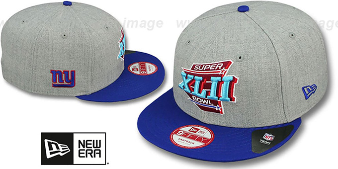 NY Giants 'SUPER BOWL XLII SNAPBACK' Grey-Royal Hat by New Era : pictured without stickers that these products are shipped with