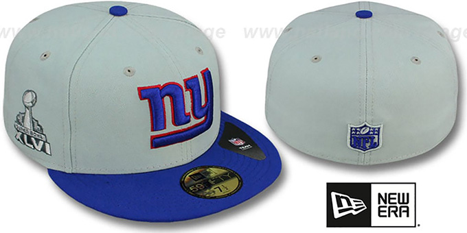 NY Giants 'SUPER BOWL XLVI' Grey- Royal Fitted Hat by New Era : pictured without stickers that these products are shipped with