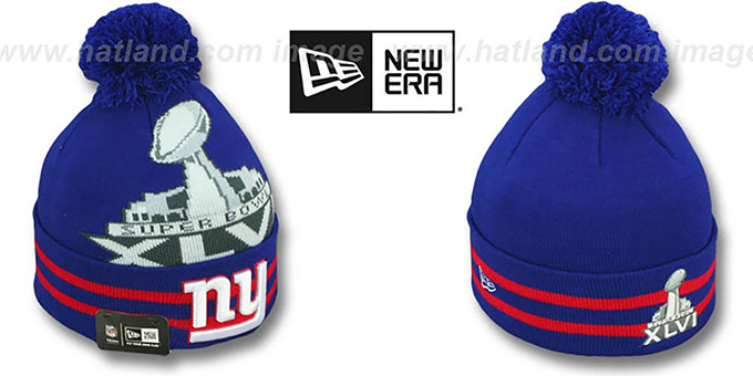NY Giants 'SUPER BOWL XLVI' Royal Knit Beanie Hat by New Era : pictured without stickers that these products are shipped with