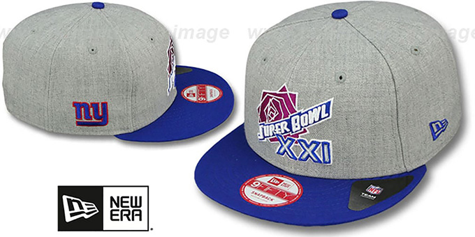 NY Giants 'SUPER BOWL XXI SNAPBACK' Grey-Royal Hat by New Era : pictured without stickers that these products are shipped with