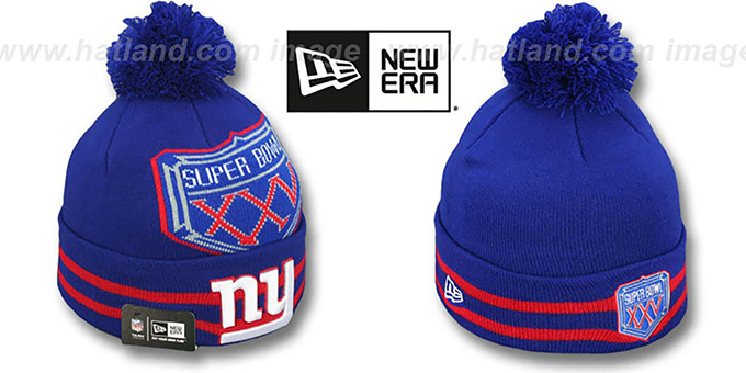 NY Giants 'SUPER BOWL XXV' Royal Knit Beanie Hat by New Era : pictured without stickers that these products are shipped with