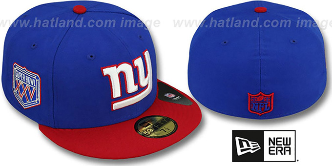 NY Giants 'SUPER BOWL XXV' Royal-Red Fitted Hat by New Era : pictured without stickers that these products are shipped with