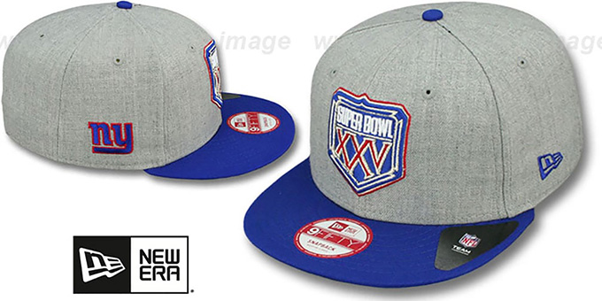 NY Giants 'SUPER BOWL XXV SNAPBACK' Grey-Royal Hat by New Era : pictured without stickers that these products are shipped with