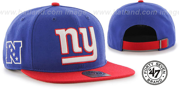 NY Giants 'SUPER-SHOT STRAPBACK' Royal-Red Hat by Twins 47 Brand : pictured without stickers that these products are shipped with