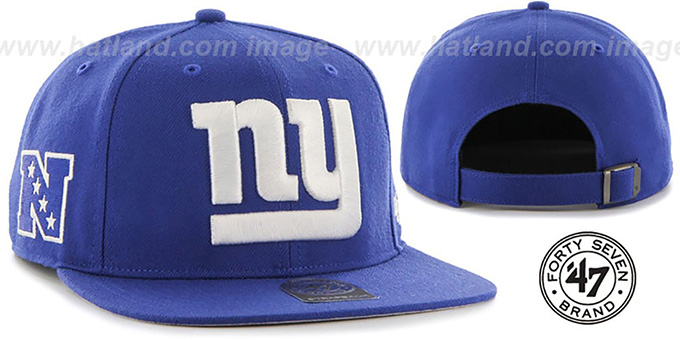 NY Giants 'SUPER-SHOT STRAPBACK' Royal Hat by Twins 47 Brand : pictured without stickers that these products are shipped with