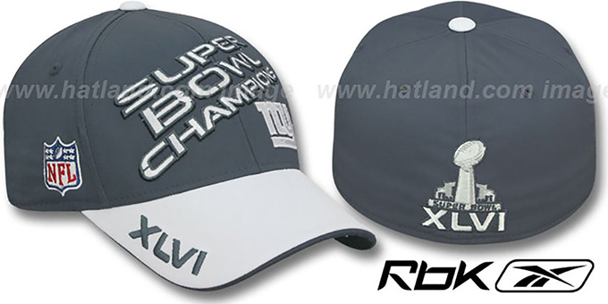 NY Giants 'SUPERBOWL XLVI CHAMPS' Hat by Reebok : pictured without stickers that these products are shipped with
