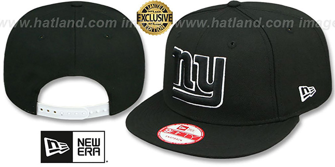 NY Giants 'TEAM-BASIC SNAPBACK' Black-White Hat by New Era : pictured without stickers that these products are shipped with