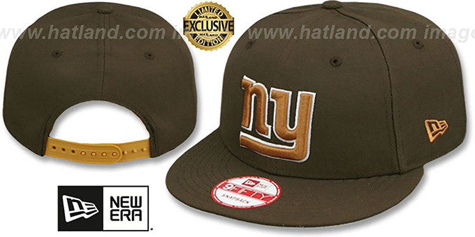 NY Giants 'TEAM-BASIC SNAPBACK' Brown-Wheat Hat by New Era : pictured without stickers that these products are shipped with