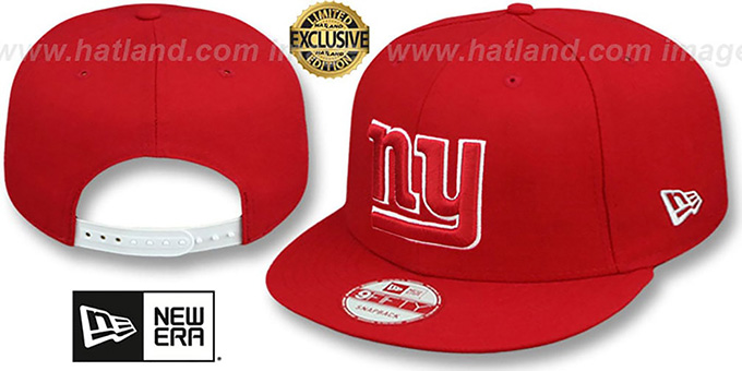 NY Giants 'TEAM-BASIC SNAPBACK' Red-White Hat by New Era : pictured without stickers that these products are shipped with