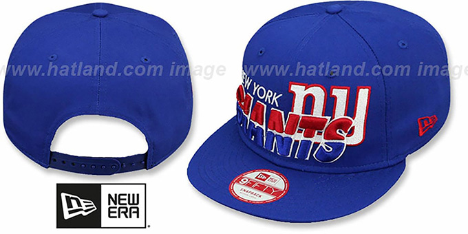 NY Giants 'TEAM-HORIZON SNAPBACK' Royal Hat by New Era : pictured without stickers that these products are shipped with