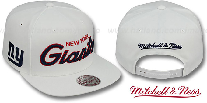 NY Giants 'TEAM-SCRIPT SNAPBACK' White Hat by Mitchell and Ness : pictured without stickers that these products are shipped with