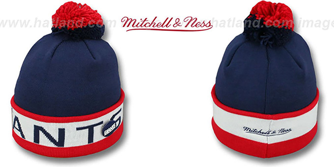 NY Giants 'THE-BUTTON' Knit Beanie Hat by Michell & Ness : pictured without stickers that these products are shipped with