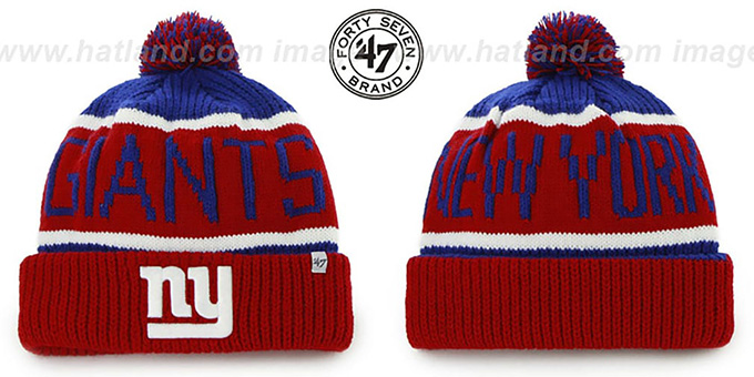 NY Giants 'THE-CALGARY' Red-Royal Knit Beanie Hat by Twins 47 Brand : pictured without stickers that these products are shipped with