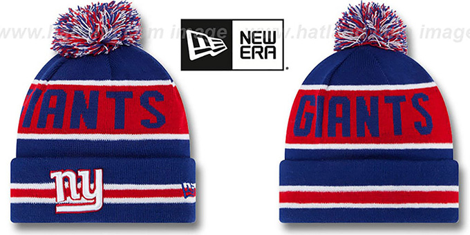 NY Giants 'THE-COACH' Royal Knit Beanie Hat by New Era : pictured without stickers that these products are shipped with
