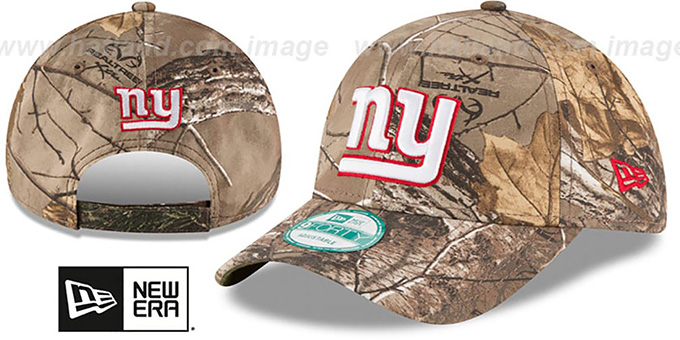 NY Giants 'THE LEAGUE REALTREE' Strapback Hat by New Era : pictured without stickers that these products are shipped with