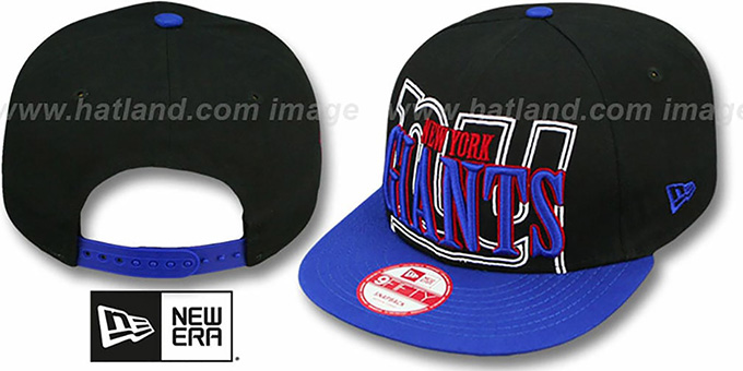 NY Giants 'THROUGH SNAPBACK' Black-Royal Hat by New Era : pictured without stickers that these products are shipped with