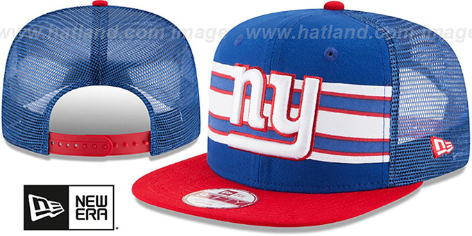 NY Giants 'THROWBACK-STRIPE SNAPBACK' Royal-Red Hat by New Era : pictured without stickers that these products are shipped with