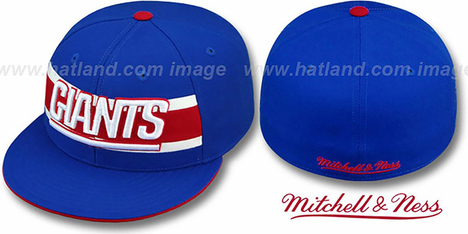 NY Giants 'THROWBACK TIMEOUT' Royal Fitted Hat by Mitchell & Ness : pictured without stickers that these products are shipped with