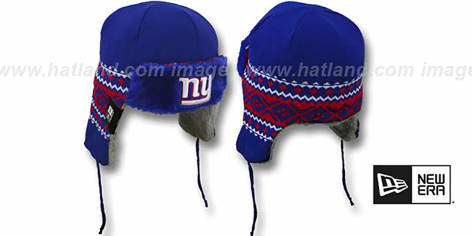 NY Giants 'TRAPPER' Royal Knit Hat by New Era : pictured without stickers that these products are shipped with