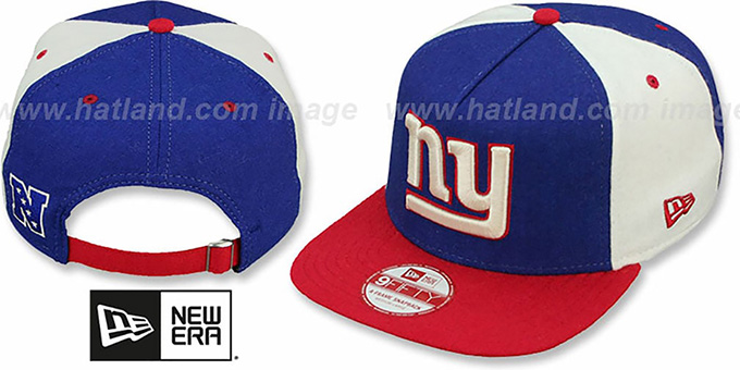 NY Giants 'TRIPLE MELTON STRAPBACK' Royal-White-Red Hat by New Era : pictured without stickers that these products are shipped with