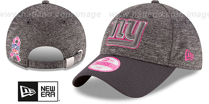 NY Giants 'WOMENS 2016 BCA STRAPBACK' Grey-Grey Hat by New Era : pictured without stickers that these products are shipped with