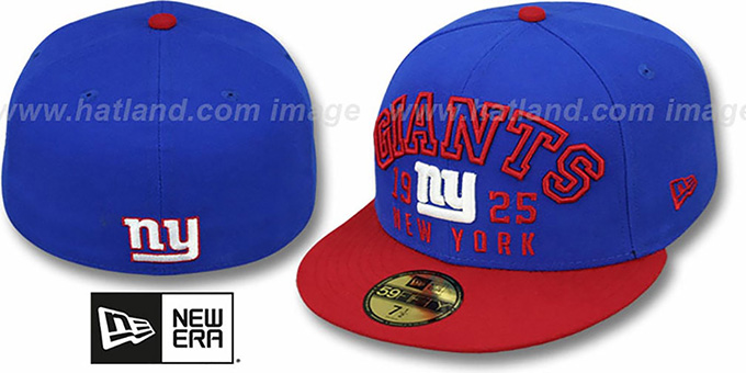 NY Giants 'WORD-KNOCK' Royal-Red Fitted Hat by New Era : pictured without stickers that these products are shipped with