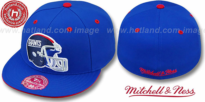 NY Giants 'XL-HELMET' Royal Fitted Hat by Mitchell & Ness : pictured without stickers that these products are shipped with