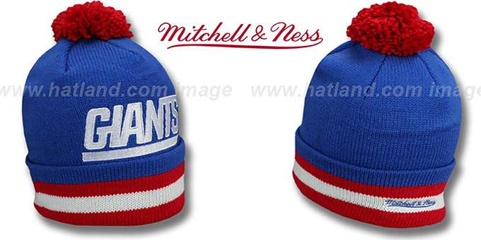 NY Giants 'XL-LOGO BEANIE' Royal by Mitchell and Ness : pictured without stickers that these products are shipped with
