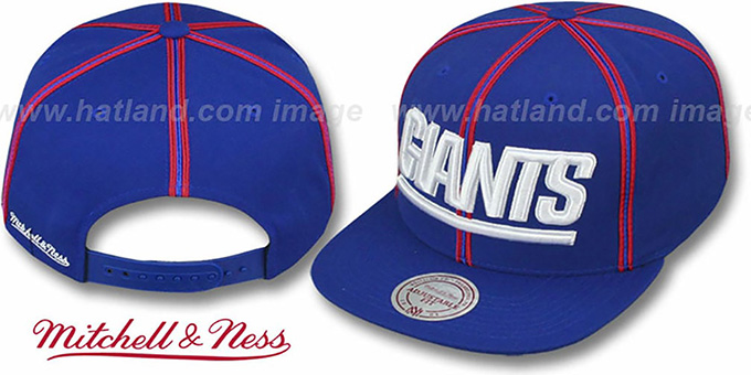 NY Giants 'XL-LOGO SOUTACHE SNAPBACK' Royal Adjustable Hat by Mitchell & Ness : pictured without stickers that these products are shipped with