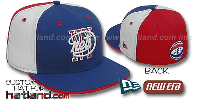 NY Nets HW ABA 'PINWHEEL' Royal-White-Red Fitted Hat : pictured without stickers that these products are shipped with