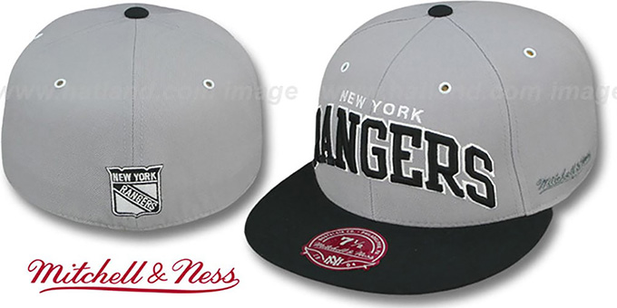 50db60a2da47f6 New York NY Rangers 2T XL-WORDMARK Grey-Black Fitted Hat by Mitch