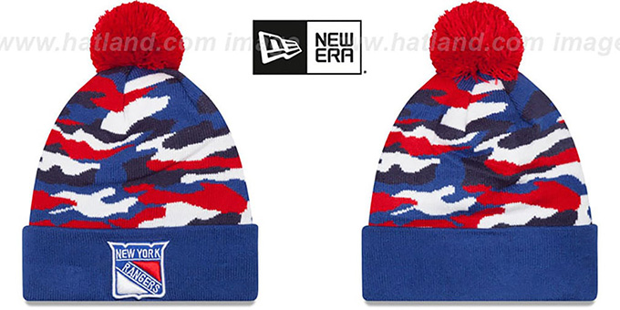NY Rangers 'CAMO CAPTIVATE' Knit Beanie Hat by New Era : pictured without stickers that these products are shipped with