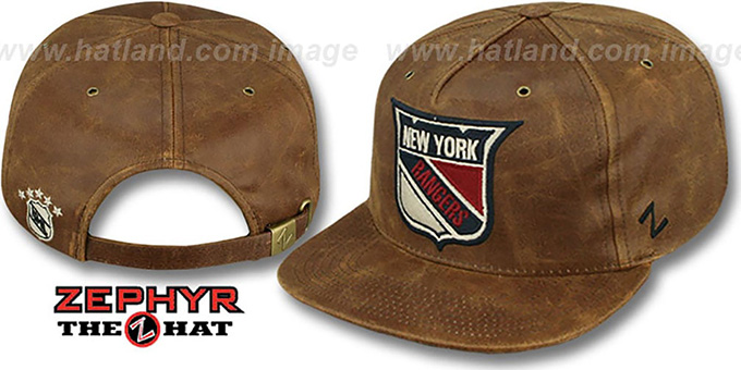 NY Rangers 'DYNASTY LEATHER STRAPBACK' Brown Hat Zephyr : pictured without stickers that these products are shipped with